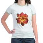 Coral Red Daylily Jr. Ringer T-Shirt