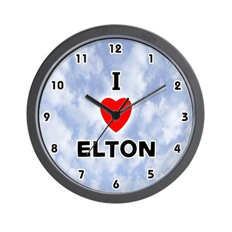 I Love Elton (Black) Valentine Wall Clock