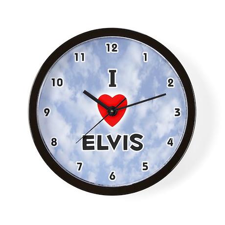 I Love Elvis (Black) Valentine Wall Clock