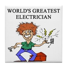 electrician gifts t-shirts Tile Coaster