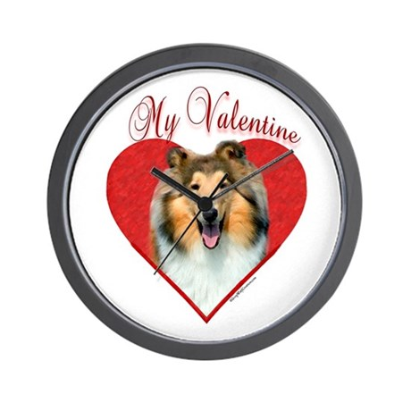 Collie(roughsable) Valentine Wall Clock