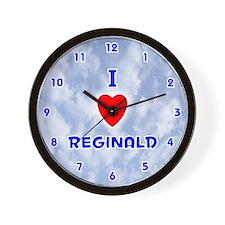 I Love Reginald (Blue) Valentine Wall Clock