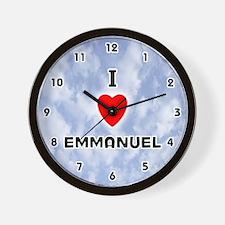 I Love Emmanuel (Black) Valentine Wall Clock
