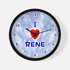 I Love Rene (Blue) Valentine Wall Clock