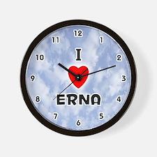 I Love Erna (Black) Valentine Wall Clock