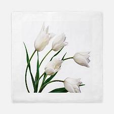 Snow White Tulip Flowers Queen Duvet