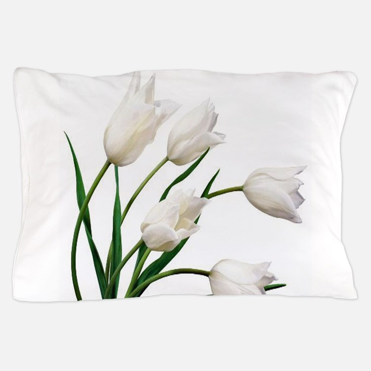 Snow White Tulip Flowers Pillow Case