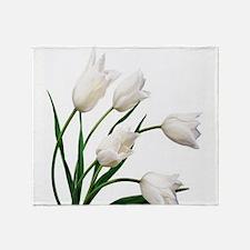 Snow White Tulip Flowers Throw Blanket
