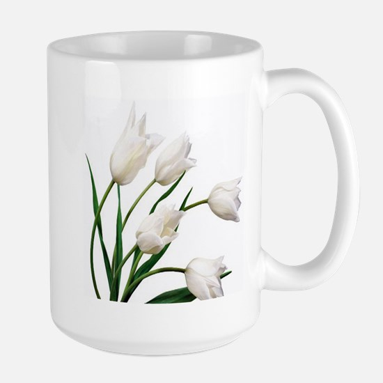 Snow White Tulip Flowers Mugs