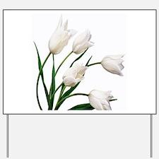 Snow White Tulip Flowers Yard Sign