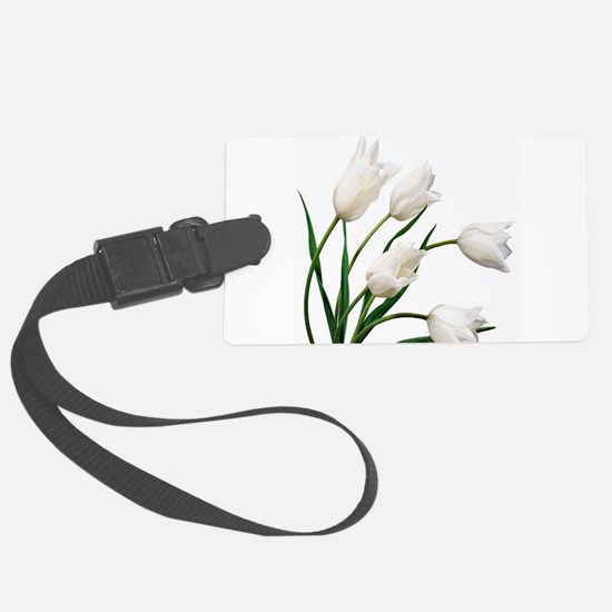 Snow White Tulip Flowers Large Luggage Tag