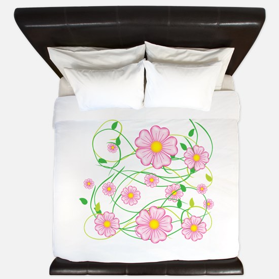 Pink Flowers King Duvet