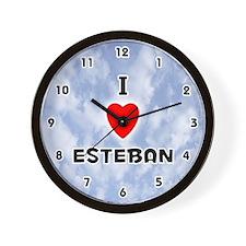 I Love Esteban (Black) Valentine Wall Clock