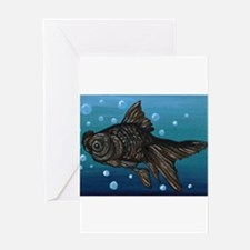 Black Moor Gold Fish Art Greeting Cards