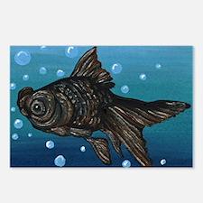 Black Moor Gold Fish Art Postcards (Package of 8)