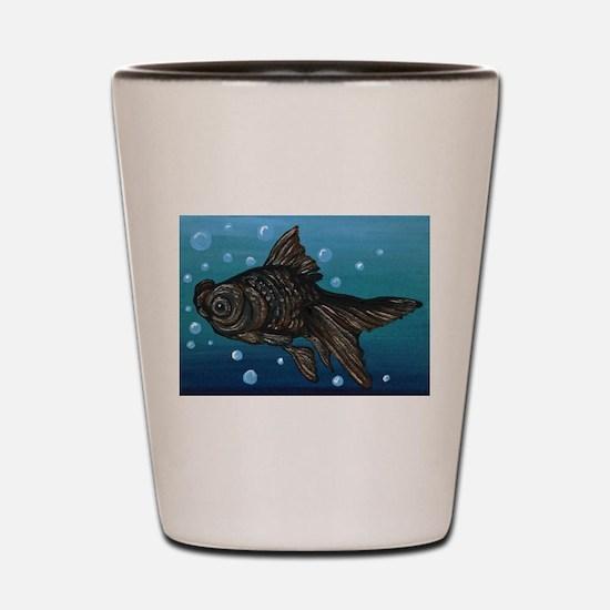 Black Moor Gold Fish Art Shot Glass