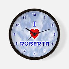 I Love Roberta (Blue) Valentine Wall Clock