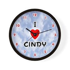 I Love Cindy (Red/Blk) Valentine Wall Clock