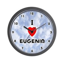 I Love Eugenia (Black) Valentine Wall Clock