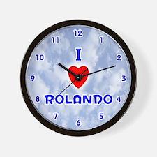 I Love Rolando (Blue) Valentine Wall Clock