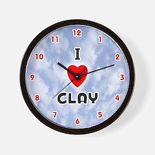 I Love Clay (Red/Blk) Valentine Wall Clock