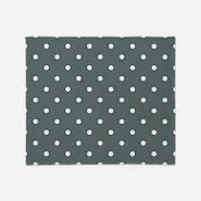 Grey, Steel: Polka Dots Pattern (Sma Throw Blanket