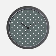 Grey, Steel: Polka Dots Pattern (Small) Wall Clock
