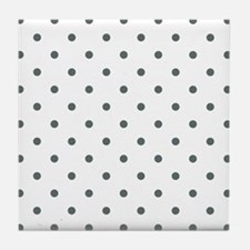 Grey, Steel: Polka Dots Pattern (Smal Tile Coaster