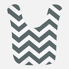 Grey, Steel: Chevron Pattern Polyester Baby Bib