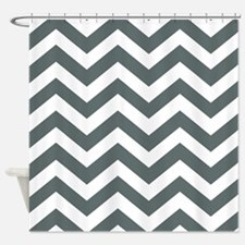 Grey, Steel: Chevron Pattern Shower Curtain