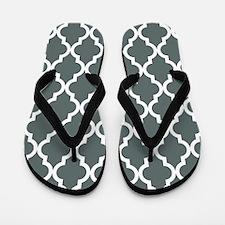 Grey, Steel: Quatrefoil Moroccan Patter Flip Flops