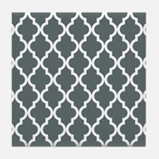 Grey, Steel: Quatrefoil Moroccan Patt Tile Coaster