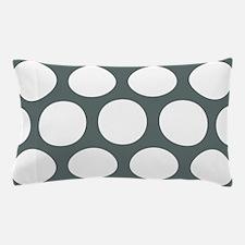 Grey, Steel: Polka Dots Pattern (Large Pillow Case