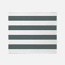 Grey, Steel: Stripes Pattern (Horizo Throw Blanket