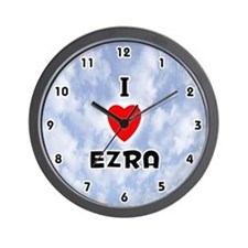 I Love Ezra (Black) Valentine Wall Clock