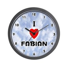 I Love Fabian (Black) Valentine Wall Clock