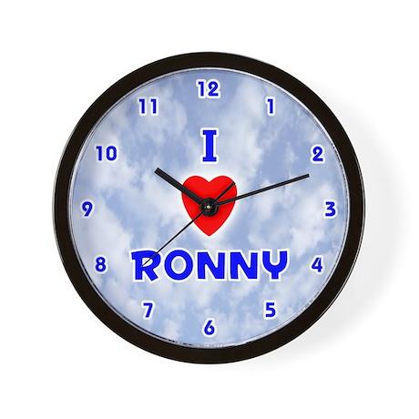 I Love Ronny (Blue) Valentine Wall Clock