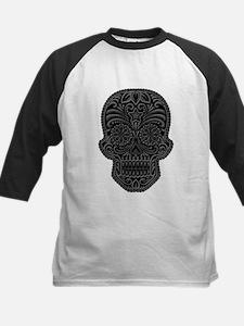 Intricate Gray and Black Sugar Skull Baseball Jers