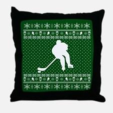Ugly Hockey Xmas Sweater Throw Pillow