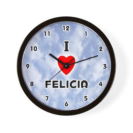 I Love Felicia (Black) Valentine Wall Clock
