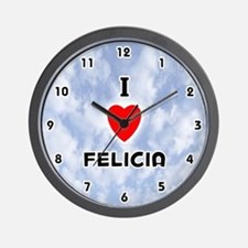 I Love Felicia (Black) Valentine Wall Clock
