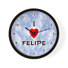 I Love Felipe (Black) Valentine Wall Clock