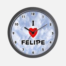 I Love Felipe (Black) Valentine Wall Clock