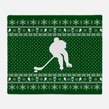 Ugly Hockey Xmas Sweater Throw Blanket