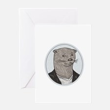 Otter Head Blazer Shirt Oval Drawing Greeting Card