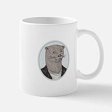 Otter Head Blazer Shirt Oval Drawing Mugs