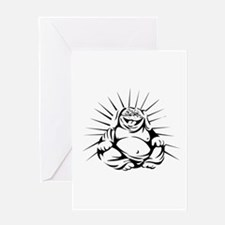 Laughing Bulldog Buddha Sitting Black and White Gr