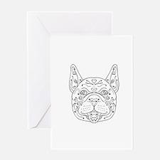 French Bulldog Head Mandala Greeting Cards