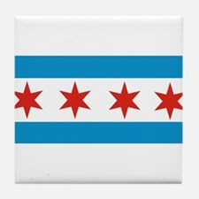 chicago city flag Tile Coaster