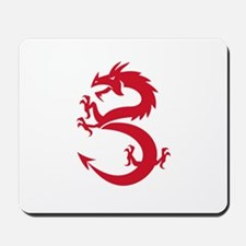 Red Dragon Prancing Silhouette Retro Mousepad